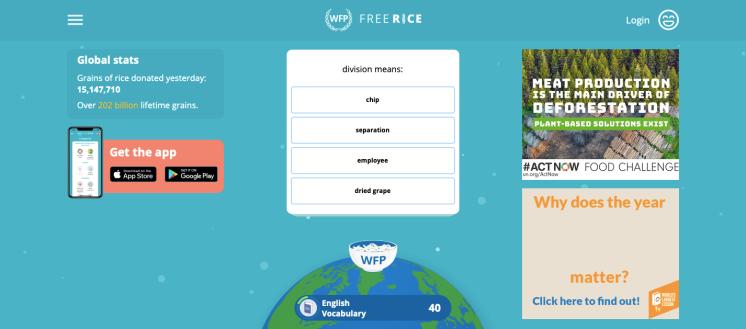 Free Rice game